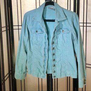 Chico's light teal 'jean style' corduroy jacket